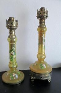 Pair of Antique French Blown Glass Oil Lamps