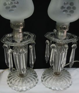 ~EAPG MANTLE HURRICANE LAMPS PAIR~CUT GLASS GLOBES GRAPES~PRISMS