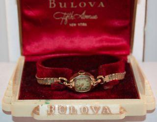 Vintage Bulova 17 Jewel 5AF Mov Ladies Wrist Watch with Case