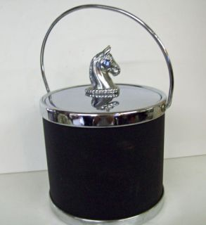 Mid Century Ice Bucket Horse Knight Armor Shield Chrome