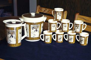 Vintage Dr Pepper West Bend Pitcher Ice Bucket 8 Mugs Advertising 12pc Set
