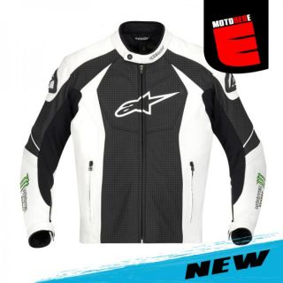 Alpinestars GP M Monster Leather Jacket Black White Green US 40 Euro 50