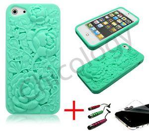 For Apple iPhone 5 Soft Skin Cover 3D Teal Blue Rose Laser Cut Case Film Pen