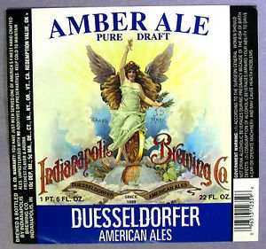 Indianapolis Brewing Co Duesseldorfer Amber Ale Beer Label Ind 22oz