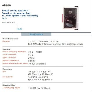 """Polk Audio Speaker AB700 2 Way """"Make OFFER"""" in Wall Theater Phile 4 Available"""