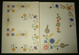 Polish Hand Embroidery Pattern Ethnic Floral Designs Regional Linen Art Poland