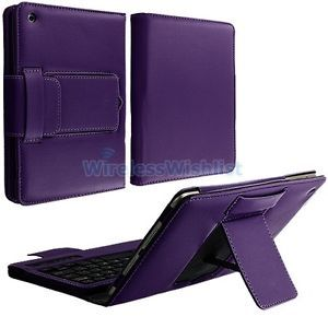 Purple Leather Case Stand with Bluetooth Wireless Keyboard for iPad Mini