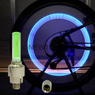 US New 2pcs Blue LED Light Lamp Green Lens Tire Valve Cap Schrader Universal Fit