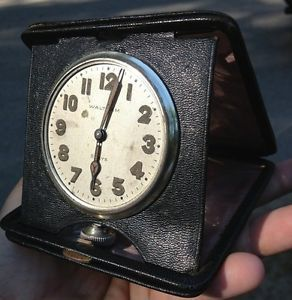 Antique Waltham 8 Day 15 Jewel Travel Clock Large Sterling Silver Case