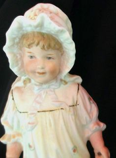 1880 1910c Victorian German Gebruder Heubach Bisque Porcelain Girl Figurine Doll