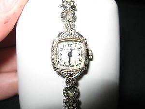 Vintage 14kt Case White Gold Bulova 17 Jewel Diamond Ladies Watch $NR