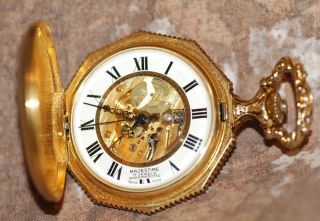 Vintage Majestine 17 Jewel Swiss Pocket Watch Skeleton Movement Hunters Case