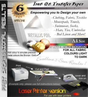 Laser OM 6 Sheets Foil Print Iron on Heat Transfer Blank T Shirt Printer Paper