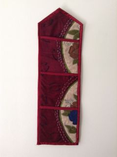 Burgundy Floral Fabric Wall Mail Letter Holder Organizer 3 Pockets Accent Decor