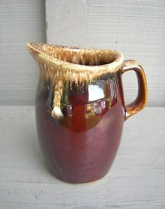 Old Vintage Hull Brown Drip Glaze Creamer Pitcher Oven Proof USA Kitchen Tool