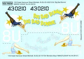 Kits World Decals 1 32 B 25J Mitchell Bomber Big Bad Bonnie Brenda's Boys