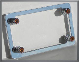 Chrome Motorcycle License Plate Frame Amber Swarovski Crystal Gem Bling Bolts