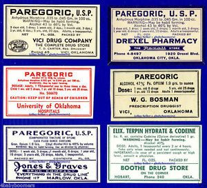 6 Opium Morphine Drug Narcotic Paregoric Antique Oklahoma Medicine Bottle Labels