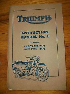 Triumph Twenty One 3TA and Speed Twin 5TA Instruction Manual Published 1958