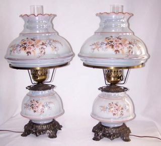 Beautiful Matching Pair of Loevsky L L WMC Hurricane Lamps