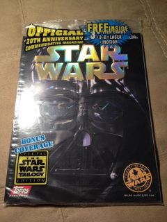 Star Wars Topps Official 20th Anniversary Magazine 3D Laser Motion Cards New Bag