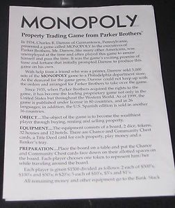 Classic Monopoly Board Game Part Instruction Manual Rules Sheet Short Fast Play