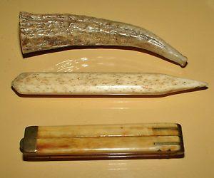 Lot of Antique Faux Ivory Ruler Letter Opener Horn Cigarette Holder