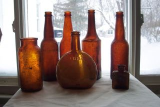 Lot of 7 Antique Glass Medicine Household Bottles 100 Years Old Embossed