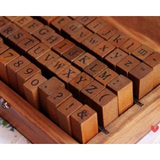 70pcs Alphabet Letter Number Punctuation Symbol Wood Rubber Stamp Set Wooden Box