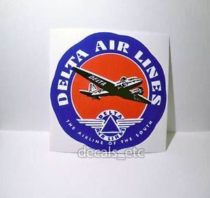 Delta Airlines Vintage Style Travel Decal Vinyl Sticker Luggage Label