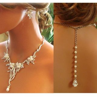 Handmade Bridal Crystal Pearl Back Drop Statement Necklace Earrings Jewelry Set