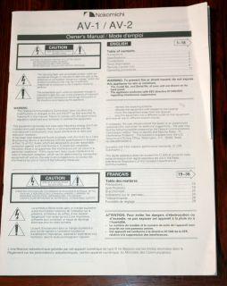 Nakamichi AV 1 AV 2 Receiver Owners Manual Original