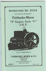 Fairbanks Morse Z Engine Manual Style C 3 HP Instructions No 2737A