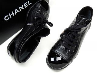 Chanel Tennis Shoes Black Size 39 5 w Box Size 39 Fabulous