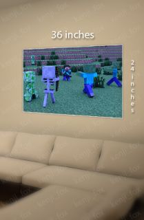 Minecraft PC Xbox Poster Print 36x24 Steve Dual Sword Diamond Creeper USA New