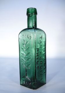Wishart's Pine Tree Tar Cordial Philada PA Patent 1859 Antique Medicine Bottle