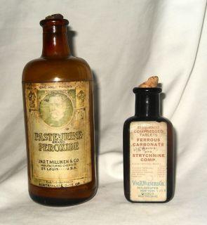 Pair of Antique Medicine Bottles C 1890 1910 Pasteurine and Ferrous Carbonate