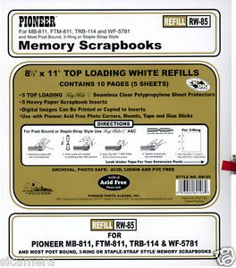 Pioneer 8 1 2x11 White Memory Book Refill Pages RW 85