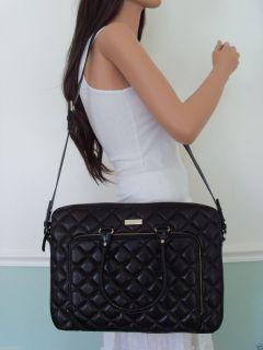 New Kate Spade Metallic Leather Laptop Briefcase Tote Bag Crossbody Purse Black