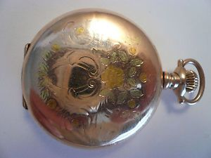 Waltham 6S 1899 Multicolored Gold Filleed Hunter Case Antique Pocket Watch