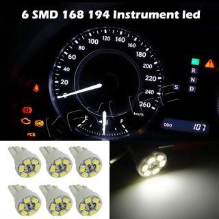 6X White T10 Gauge Cluster Instrumental Speedometer Wedge Dash LED Light Bulb