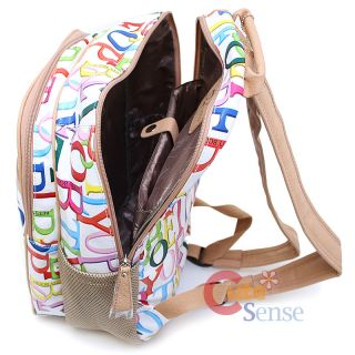 Betty Boop Laptop Bag School Large Backpack Leather Rainbow Typo White