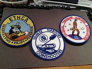 Lot of 3 Metal Detector Treasure Hunting Patches Patch
