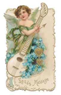 Ellen Clapsaddle Die Cut Cupid with Musical Instrument