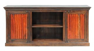 "Vintage Plasma TV Stand 73"" with 2 Doors Plasma Stand Rustic Orange Doors"