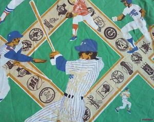 MLB Logo Baseball Teams Names Vintage 80's Bed Sheet Flat Twin Bedding Players