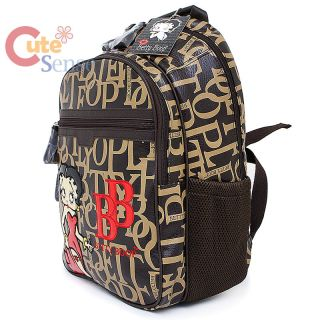 Betty Boop Laptop Bag School Large Backpack Leather Brown Typo