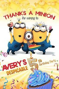 Despicable Me Minion 4 Thank You Birthday Party Invitation Photo Printable