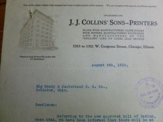 1919 J J Collins' Sons Printers Chicago Illinois Antique Letterhead