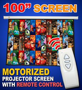 "New 100"" Electric Motorized Projector Projection Screen w Remote Matt White 4 3"